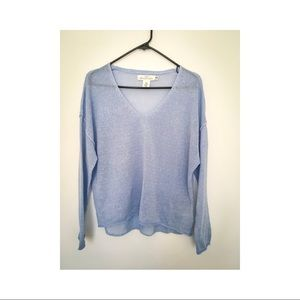 H&M Linen Blend Boxy Blue Sweater